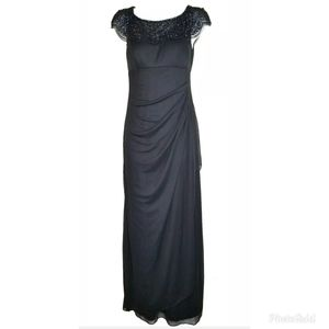 Xscape Beaded Sheer Illusion Neckline Gown